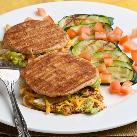 Spicy Vegetable Omelet Sandwich