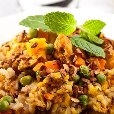 Brown Rice Pilaf with Chicken & Vegetables