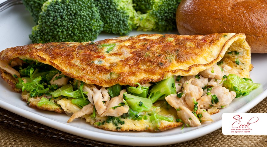 Broccoli & Chicken Omelet with Whole-Wheat Bagel - Recipes ...