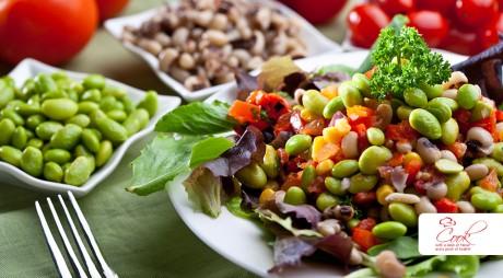 Edamame with Chora Salad  (Black-Eyed Peas)
