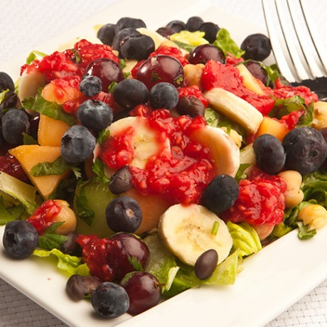 Fruit Chaat Masala Salad with Raspberry Dressing