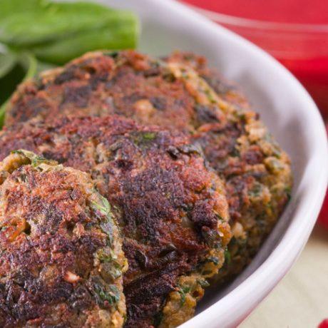 Spinach & Potato Kebab with Raspberry Chutney