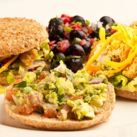 Chicken Taco Salad Sandwich with Berry Salsa