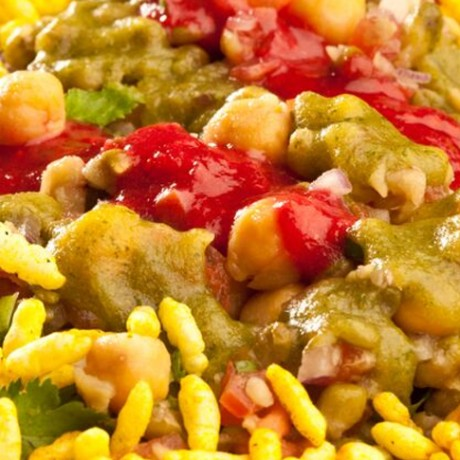 Bhel Salad with Red and Green Chutney