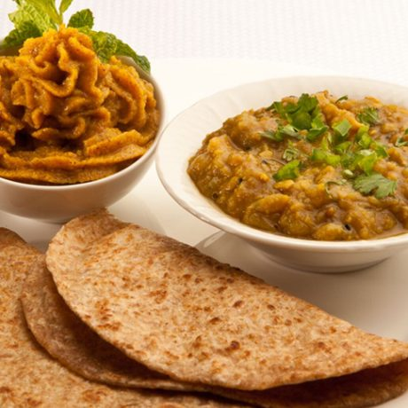 Aloo Channa and Halwa with Pan Sautéed Whole-Wheat Chappati (HALWA RECIPE)