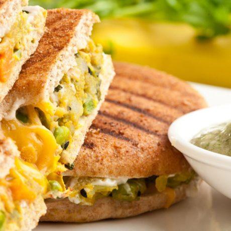 Bombay Toast Sandwich with Banana Cilantro Chutney