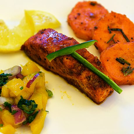 Salmon with Mango Salsa and Sweet Potatoes
